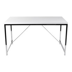 Euro Style - Gilbert Desk - White Lacquer/Chrome - Gilbert designs office furniture with excellent bones.  Strength and functionality come together in a line of basic office pieces that are hard-working, long lasting, and no nonsense classics.  Seriously.