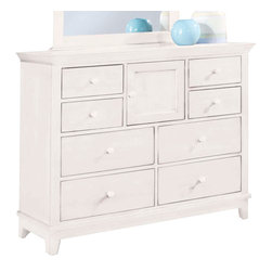 American Drew - American Drew Sterling Pointe Dressing Chest in White - White with White Top - Sterling Pointe, from American Drew, is a collection of bedroom furniture with simple lines, but spectacular possibilities. Sterling Pointe is a versatile group that can easily capture any lifestyle and work in any setting. The collection can go from urban chic to country cottage, from transitional to coastal, and all personal styles in between! Sterling Pointe is offered in four popular colors; Black, White, Cherry and Maple. All case pieces come with matching color hardware and polished chrome finish hardware for even more personalization. In addition, the Black and White colored case pieces have the option to customize the tops in either Cherry or Maple colors. When you choose this option, you get hardware in the matching case color, matching top color and polished chrome finish. The three bed styles are offered in multiple sizes to fit any room and setting.This is the perfect collection for that condo or town home, second bedroom or second home. Sterling Pointe has a timeless appeal that can adapt and last a lifetime. Sterling Pointe will capture the essence of your personal style.
