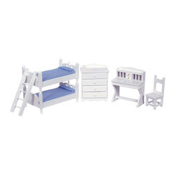 Town Square Miniatures - White Bunk Bed Dollhouse Miniature Set - T5349 - Shop for Dollhouses and Dollhouse Furnishings from Hayneedle.com! Perfect for the kids the White Bunk Bed Dollhouse Miniature Set will make a charming addition to your country-style dollhouse. This complete bedroom set has an air of rustic simplicity. It includes a bunk bed with ladder dresser desk and high-backed chair on a 1-inch scale. Crafted from beautifully carved durable wood these pieces feature a pristine white finish; blue and white gingham bed linens complete this sweet look. This exquisite set is suitable for use in collector dollhouses. As it includes small pieces it's not recommended for children under the age of 13. Dimensions: Bunk bed: 3W x 5.5D x 4.25H in. Dresser: 3.25W x 1.75D x 4H in. Desk and chair: 3.5W x 2D x 3.88H in.