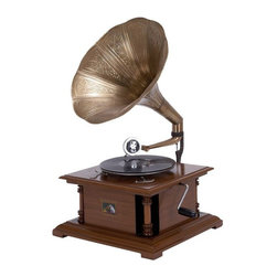 Benzara - Wood Metal Gramophone For Matching Your Passion For Music - WOOD METAL GRAMOPHONE is the excellent musical home decor and table space filler for blending your passion for music with passion of unique decor.