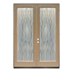 "Glass Doors - Frosted Glass Front Entry Doors - WATER TRAILS NEG - Glass Front Entry Doors that Make a Statement! Your front entry door is your home's initial focal point and glass front doors by Sans Soucie with frosted, etched glass designs create a unique, custom effect while providing privacy AND light thru exquisite, quality designs!  Available any size, all glass front doors are custom made to order and ship worldwide at reasonable prices.  Exterior entry door glass will be tempered, dual pane (an equally efficient single 1/2"" thick pane is used in our fiberglass doors).  Selling both the glass inserts for front doors as well as entry doors with glass, Sans Soucie art glass doors are available in 8 woods and Plastpro fiberglass in both smooth surface or a grain texture, as a slab door or prehung in the jamb - any size.   From simple frosted glass effects to our more extravagant 3D sculpture carved, painted and stained glass .. and everything in between, Sans Soucie designs are sandblasted different ways creating not only different effects, but different price levels.   The ""same design, done different"" - with no limit to design, there's something for every decor, any style.  The privacy you need is created without sacrificing sunlight!  Price will vary by design complexity and type of effect:  Specialty Glass and Frosted Glass.  Inside our fun, easy to use online Glass and Entry Door Designer, you'll get instant pricing on everything as YOU customize your door and glass!  When you're all finished designing, you can place your order online!   We're here to answer any questions you have so please call (877) 331-339 to speak to a knowledgeable representative!   Doors ship worldwide at reasonable prices from Palm Desert, California with delivery time ranges between 3-8 weeks depending on door material and glass effect selected.  (Doug Fir or Fiberglass in Frosted Effects allow 3 weeks, Specialty Woods and Glass  [2D, 3D, Leaded] will require approx. 8 weeks)."