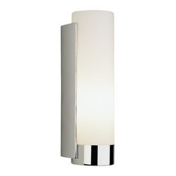 """Robert Abbey - Contemporary Robert Abbey Tyrone Chrome Finish Bath Wall Sconce - A brilliant chrome finish meets white frosted cased glass to create this sleek wall sconce design. Give your bathroom a fresh contemporary look with this modern lighting design from Robert Abbey. Chrome finish. White frosted cased glass. Takes one 60 watt bulb (not included). Includes adapter plate to cover junction box. 12"""" high.  Chrome finish.   Part of the Robert Abbey lighting collection.  White frosted cased glass.   Takes one 60 watt bulb (not included).   Includes adapter plate to cover junction box.   12"""" high.  5""""wide.  Extends 4"""" from the wall."""