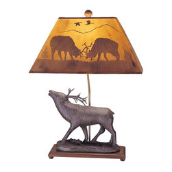Mario Industries - Lodge Elk Table Lamp w Silhouette Shade - Light comes with a CFL bulb. Electric powered. Warranty: One year. Resin base. Brown color. Max. Watt Bulb: 150W. 20 in. L x 10 in. W x 26 in. H (16 lbs.)Carved woo look features two bears climbing with silhouette shade that when lamp is lit a bear scene appears.