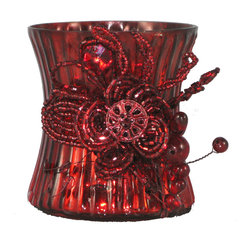 Mercury Glass Beaded Red Votive Holder - Proof that a little romance has the power to transform things, everywhere. Whether you light up a summer picnic under the stars, line them up along the hallway shelf, illuminate a holiday mantelpiece or grace your next dress-up dinner table, these votives will offer a glimmering and glamorous spark of interest.
