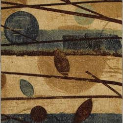 Mohawk Home - Free Flow Modern Forest Blue Country Leaves 5' x 8' Mohawk Rug (11435) - In wonderful muted earth tones, this rug is a great foundation for a warm cozy design theme.Action Backing