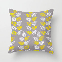Sheaves Pillow Cover in Gray - Add something new to your living room with this comfortable poplin pillow cover in three fashionable color schemes. Featuring a dotted leaf pattern reminiscent of stalks of wheat, we think it would shine in a bold-hued accent chair.