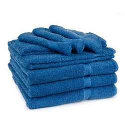 Cambridge Soft Touch 9 pc. Towel Set - Luxuriate in the vivid colors and intense softness of the Cambridge Soft Touch 9 pc. Bath Towel Set. A stylish addition to your bath, this towel set is made of 100% cotton to be sumptuously soft and durable. It comes in a wide range of brilliant colors to kick any bathroom decor up a notch. This set includes three bath towels, three hand towels, and three washcloths. Bath towel: 54 x 27 in.Hand towel: 28 x 16 in.Washcloth: 13 x 13 in.About Cambridge Towel CorporationCambridge Towel Corporation is the largest manufacturer of terry products in Canada. Priding themselves in quality, color and design, and customer satisfaction, Cambridge designs and manufacturers all of their products, including towels, bath accessories, shower curtains, and bath rugs. This reliable company distributes nationally and internationally to retail stores and hotels. Centrally located in Cambridge, Ontario, Cambridge Towel Corporation also has a distribution center in Hamilton, Ontario.