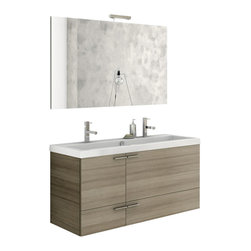 ACF - 47 Inch Double Sink Bathroom Vanity Set - This Italian-made bathroom vanity set features a waterproof panel made of engineered wood in a beautiful larch canapa finish.