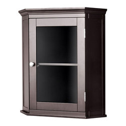 Elite - Classique Espresso Corner Wall Cabinet - A Classique espresso-colored bathroom wall cabinet can complement any traditional lavatory design. This wood cabinet is constructed for corner mounting,saving space in small bathrooms. The cabinet features a glass door that adds a modern touch.