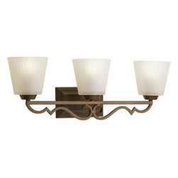 Progress Lighting - Meeting Street Roasted Java Three-Light Bath Fixture with Etched Ivory Pleated G - - Three-light bath  - Three Light Bath  - Glass: Etched ivory pleated  - Height From Center Box: 6.31-Inch  - Branding: Thomasville Lighting  - Finish/Color: Roasted Java  - Product Width: 25.75  - Product Height: 8.75  - Product Height: 8.75  - Product Weight: 10  - Product Dept: 25.75  - Product Extension: 6.87  - Material: Metal and Glass  - Bulb NOT included Progress Lighting - 942024-102