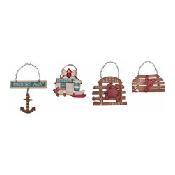 Zeckos - Set of 4 Small Nautical Theme Wooden Signs Kitchen Decor - This set of 4 nautical themed wooden wall signs is a great decorative addition to any room with a nautical theme. The signs range in size from 4 1/2 inches bu 8 inches to 7 inches by 8 inches. They are hand-painted and make a great gift.