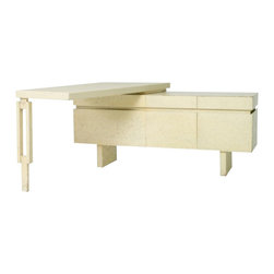 EcoFirstArt - Custom L-shaped Desk - With its midcentury modern timeless feel and unique looks and shape, this is one attractive desk that will demand attention in your office or study. It features a faux-limestone-finish case with a layered 90-degree desktop in crackle-finish lacquer. You're covered for storage with the six spacious drawers.