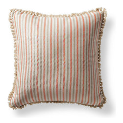 Frontgate - Fairway Stripe Sunset Outdoor Pillow - 100% Sunbrella® solution-dyed acrylic fabric. Finished in Sand eyelash fringe. Resists fading, mold and mildew. High-density polyester fill. Spot clean with mild soap and water; air-dry only. Bursting with welcoming texture and pattern, the Sunbrella Fairway Stripe Sunset Outdoor Pillow will instantly enhance your outdoor setting. Embellished with intricate Sand eyelash fringe and constructed of all-weather fabric, this exclusive pillow maintains its radiance through seasons of use. 100% Sunbrella solution-dyed acrylic fabric .  .  .  .  . Zipper closure . Made in the USA.