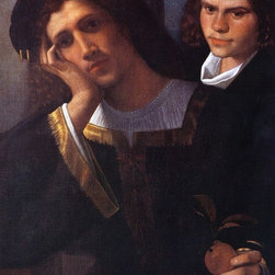 """Giorgione  Double Portrait (attributed to Giorgione)   Print - 18"""" x 24"""" Giorgione  Double Portrait (attributed to Giorgione) premium archival print reproduced to meet museum quality standards. Our museum quality archival prints are produced using high-precision print technology for a more accurate reproduction printed on high quality, heavyweight matte presentation paper with fade-resistant, archival inks. Our progressive business model allows us to offer works of art to you at the best wholesale pricing, significantly less than art gallery prices, affordable to all. This line of artwork is produced with extra white border space (if you choose to have it framed, for your framer to work with to frame properly or utilize a larger mat and/or frame).  We present a comprehensive collection of exceptional art reproductions byGiorgione ."""