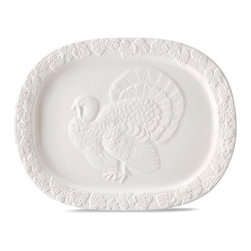"Martha Stewart Collection Harvest Embossed Turkey Platter - The ""guest"" of honor will truly shine resting atop this gorgeous embossed platter."