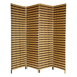 Oriental Furniture - 6 ft. Tall Two Tone Natural Fiber Room Divider - 4 Panel - A simple, effective and beautiful room divider. Well crafted hinged panels, built from lightweight kiln dried Spruce frames. The frames are shaded with cross woven natural plant fiber cord. Entirely opaque, no light passes through the panel, providing complete privacy. A perfect privacy screen, great for temporarily blocking light or the view from windows and doorways. An attractive decorative screen with an attractive two tone finish, great for creating a cozy nook for a table and chairs. Divide two spaces or redirect foot traffic. A light, portable, practical room divider at an unbeatable price.