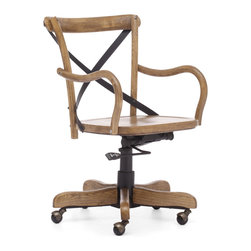 Zuo Modern - Union Square Office Chair Natural - Modeled after the most popular cafe chair in Europe, our versatile X-back office chair comes in natural, antique black, and antique white. Frame is solid wood with antique metal accents.