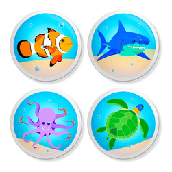 New Speed Limit - Set of 4 Dresser Drawer Knobs/Pulls Hardware For Kids- Awesome Ocean - Awesome Ocean! Clown Fish, Octopus, Sea turtle, Shark Moms or Dads, you can give your child's old dresser a quick and inexpensive DIY makeover. Our custom-made ceramic knob sets screw on easily to most flat faced drawer fronts in minutes! Your kids will love one of our many cool, detailed, and fun designs. You will love the traditional, easy to grab, clean, and round shape with no sharp edges. Perfect! Each 4 Pack contains 4 1 1/2 inch bright ceramic knobs with a 1 1/4 inch long Phillips head screw. Please check out all of our different designs.