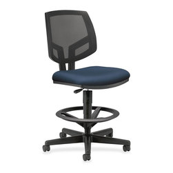 HON - HON Volt Seating Mesh Task Stool - Fabric Navy Seat - Black Frame - Volt task stool offers a unique combination of style, scale, comfort and functionality. Its real value is in its flexibility with the ability to work in virtually any environment. Generously proportioned seat cushion and natural cooling of a mesh back are welcoming to every body. Adjustable footring and extended 360-degree swivel allow movement in any direction. The footring adjusts in height easily with a simple knob for the best position for your legs and feet. Pneumatic seat-height adjustment ranges from 23-7/8 to 32-3/8. The five-star base includes 2-1/2 dual-wheel, hooded casters for easy chair movement. The cushioned seat is covered in fabric. Seat measures 19 wide x 18 deep. The back size is 18 wide x 18-1/2 high. Stool also features a plastic outer back, and frame is available in black only. Stool meets or exceeds applicable ANSI/BIFMA requirements.