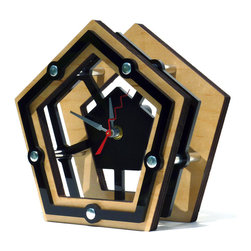 EllingWoods Design - Modern Geometric Pentagon Desk Clock - Wood - Inspired by geometry these modern clocks