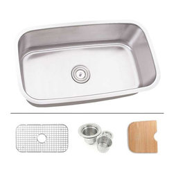 """TCS Home Supplies - 32 Inch Stainless Steel Undermount Single Bowl Kitchen Sink - Undermount Kitchen Sink. Single Bowl. Sink comes with Matching Protective Grid, Deluxe Basket Strainer, Eco-Friendly Bamboo Cutting-board for FREE! Dimensions 31-1/2"""" x 18-1/2"""" x 9"""". 16 Gauge Stainless Steel. Brushed Satin Stainless Steel Finish."""