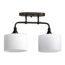 Quorum International - Quorum International 3290-2 2 Light Down Lighting Semi-Flush Mounted Ceiling Fix - Transitional 2 Light Down Lighting Semi-Flush Mounted Ceiling Fixture from the Rockwood CollectionNeed a new style in your home but can't decide what type of fixture to get? Quorum International has what you need! This stunning and stylish two light fixture is the perfect solution. Two Satin Opal glass shades are hung from sweeping, classic styled support arms while a dazzling 200 watts of lighting power offers focused, directional light for your foyer, dining room, or other space in your home.Features: