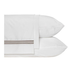 Nine Space - Pipe Stitch Sheet Set, Chocolate - A modern, minimalist take on classic hotel sheeting, these luxurious linens are finished with three lines of pipe stitching to add just the right amount of color to your bedding suite. Tailored from silky smooth bamboo, they have the amazing ability to wick moisture away from your skin for a guaranteed good night's rest.
