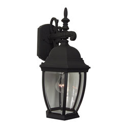 Exteriors - Exteriors Cast Aluminum Bent Glass Outdoor Wall Sconce - Medium X-50-482Z - The Craftmade Cast Alumuninum Bent Glass Outdoor Wall Sconce with a black finish and clear bold lines is the perfect accent for your front porch, garden, or garage. The clear beveled glass provides clear illumination and the Craftmade brand ensures durability. This sconce is where tradition meets ease.
