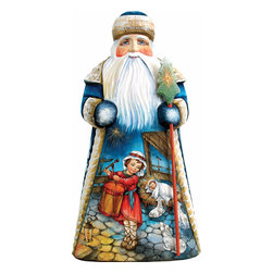 """Artistic Wood Carved Peaceful Slumber Santa Claus Nativity Sculpture - Measures 8""""H x 5""""L x 4.75""""W and weighs 2 lbs. G. DeBrekht fine art traditional, vintage style sculpted figures are delightful and imaginative. Each figurine is artistically hand painted with detailed scenes including classic Christmas art, winter wonderlands and the true meaning of Christmas, nativity art. In the spirit of giving G. DeBrekht holiday decor makes beautiful collectible Christmas and holiday gifts to share with loved ones. Every G. DeBrekht holiday decoration is an original work of art sure to be cherished as a family tradition and treasured by future generations. Some items may have slight variations of the decoration on the decor due to the hand painted nature of the product. Decorating your home for Christmas is a special time for families. With G. DeBrekht holiday home decor and decorations you can choose your style and create a true holiday gallery of art for your family to enjoy. All Masterpiece and Signature Masterpiece woodcarvings are individually hand numbered. The old world classic art details on the freehand painted sculptures include animals, nature, winter scenes, Santa Claus, nativity and more inspired by an old Russian art technique using painting mediums of watercolor, acrylic and oil combinations in the G. Debrekht unique painting style. Linden wood, which is light in color is used to carve these masterpieces. The wood varies slightly in color."""