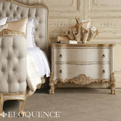 Eloquence Roma Commode in Gold Two Tone Finish - Eloquence Roma commode in our Gold Two-Tone finish. A beautiful Italianate chest with ornate carvings, in a sandy beige base featuring gold leaf highlights. This commode is the perfect nightstand for your European bedroom. Enjoy the opulent style and an abundance of storage space!