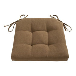 Basque Copper Chair–Bar Stool Cushion - Tie on additional comfort with our tufted and pleated box cushion custom fitted to our Basque side chairs and barstools. A cushy fiber foam insert is surrounded by a 100% cotton cover.