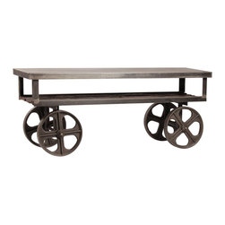 Industrial Rolling Media Console - Rustic and modern meet in an eclectic look. The Industrial Rolling Media Stand has a rustic wooden shelf that creates a unique contrast to its steel frame. This console is solid and was built to last.