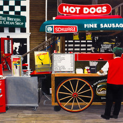 "Hot Dogs Limited Edition Print - This is a photorealistic oil painting of a classic pretzel stand and Coca Cola cooler. Also offered is a signed and numbered giclee reproduction on canvas which also comes ready-to-hang. The giclee is 40"" x 24"" and sells for $600 including shipping. Contact gallery directly to purchase."