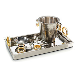 Golden Ring Bar Set - Set of 6 - Add richness and glamor to your barware with well-coordinated ease when you choose the shimmering hammered finishes, precise enamel work, and mixed metals of the Golden Ring Bar Set, a set of six essential implements in a coordinated uptown design. Bold ring motifs have been incorporated into the tray, ice bucket, nut dish, bottle opener, and wine stopper, while coordinating ice tongs gleam with nickel plating.