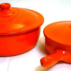 Authentic Italian Cookware - Piral 4.5 Quart Casserole-Dutch Oven, 2 Handle with Lid, 27 cm 10.5 Inch diameter, Earthy Orange & matching 1.5 Quart Muti-Use Pan with Lid