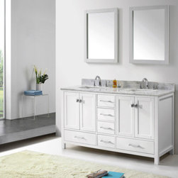 VIRTU CAROLINE AVENUE 60IN DOUBLE BATH VANITY CABINET SET WHITE - The Caroline Avenue series is designed with a bold clean style and built with strong, top notch materials including designer brushed nickel hardware. It offers an abundance of storage space and state of the art technology with its soft closing doors and drawers. Featuring a zero-emissions solid oak wood with a classic espresso or white finish that will last for years to come. With this vanity's one inch thick Italian Carrara white marble countertop, it will be more durable and resistant to mishaps.