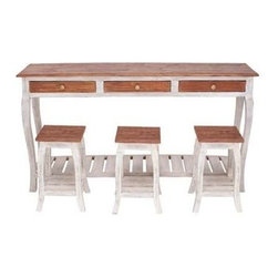 Benzara - Mahogany Wood Console with 3 Stools in Natural Textures - Mahogany wood console with 3 stools in natural textures. A perfect example of minimalistic furniture, this sleek console with three stools takes up very less space. Some assembly may be required.