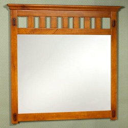 """42"""" Mission Hardwood Vanity Mirror - Oak Finish - This vanity mirror is designed to complement the Mission Hardwood Vanity Cabinets.  It features a rich, rustic oak stain and has classic mission style."""