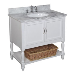 Kitchen Bath Collection - Beverly 36-in Bath Vanity (Carrera/White) - This bathroom vanity set by Kitchen Bath Collection includes a white cabinet, Italian Carrera marble countertop, undermount ceramic sink, pop-up drain, and P-trap. Order now and we will include the pictured three-hole faucet and a matching backsplash as a free gift! All vanities come fully assembled by the manufacturer, with countertop & sink pre-installed.