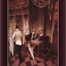 Amanti Art - Cafe Florian Framed Canvas by Juarez Machado - Bring your art deco room to life with this alluring work by Brazilian artist Juarez Machado. The seductive canvas comes custom framed in a burgundy walnut finished wood. The nightlife of Café Florian is so intriguing — you'll be tempted to take a seat in the empty chair.