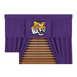Sports Coverage - Louisiana State Tigers NCAA MVP Micro Suede Valance - Finish off the room in style with this great looking Louisiana State Tigers MVP Micro Suede Pleated Valance. A must have for any true fan. The MVP Micro Suede Collection is unique in its appeal to both young and more mature tastes. Sporting team colors with a soft leather looking stripe. The best part of this new look is its ultra soft and washable Polyester microsuede fabric which is perfect for bedding because it stays soft. Wash in cold water and tumble dry in low heat. Color fast and wrinkle-free. Has a 3 rod pocket and two even-spaced pleats.   Show your team spirit with this officially licensed 50 x 15 MVP valance. Appliqued team logo in center on official team-colored jersey, with the lance wearing the same smaller team logo as the sham, for a coordinated window play. Self lined. Drapery is sold separately.