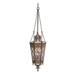 Fine Art Lamps - Chateau Outdoor Outdoor Lantern, 402482ST - Get more enjoyment from your outdoor space by lavishing it with light. This impressive lantern is made of solid brass with a rich, variegated umber patina, decorative accents and antiqued glass.