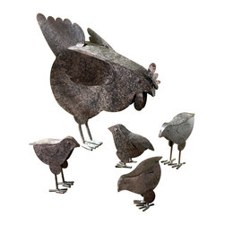 KOOLEKOO - Hen With Chicks Garden Sculpture - Mother Hen and her young charges scratch up some lunch in this charming country garden sculpture. Rustic-finished metal.