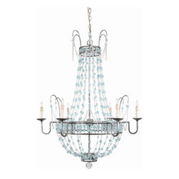 "Arteriors - Arteriors Home - Versailles 6L Small Aqua Chandelier - 89252 - Elegant 6-light chandelier adorned with aqua glass and clear glass breads draping from iron branches finished in a pewter leaf finish and accented with a clear glass orb at the bottom of the fixture. Features: Versailles Collection Chandelier Elegant 6-light chandelierPewter Leaf Some Assembly Required. Dimensions: H 36"" x 28"" Dia"