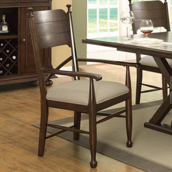 Coaster - Camilla Arm Chair, Brown Cherry - Set of 2 - Add a unique touch to your dining room decor with this stunning dining room set. The matching chairs also have X-designed lower backs with a padded fabric cushion for ultimate comfort. Create a natural appearance in your home with this beautiful counter height table set.