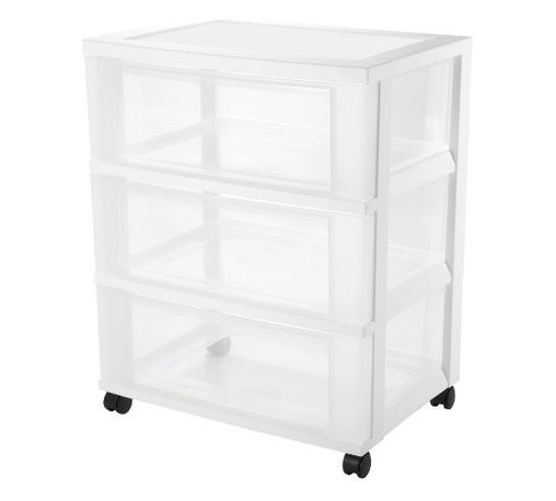 IRIS USA, Inc. - 3-Drawer Storage Chest with Casters, White/Clear - This 3 Drawer storage offers a modern look with functionality of 3 deep drawers as well as an organizer top. Great for storing items in the home, office or hobby room. Includes casters and built-in drawer stops.