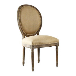 Kathy Kuo Home - Pair Madeleine French Country Limed Oak Hemp Oval Back Dining Chair - Fusing classic European design with simple rustic charm. A distressed limed oak finish adds an antique touch to this Louis XVI style Medallion side chair. Upholstered in natural hemp, this traditional medallion chair lends elegance to a dining room.