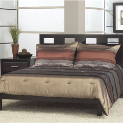 Domusindo - Rectangular Cutout Full-size Platform Bed - Furniture creates a sophisticated, modern look in your bedroom or guest room Bed constructed of solid tropical mahogany wood and veneer Bedroom furniture offers a rich, multi-step espresso finish that blends with any decor