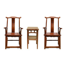 Golden Lotus - Chinese Set of 3 Elm Wood Yoki-Back Armchair Table - The high yoke-back chair with protruding ends and arms, commonly referred to as the official's hat chair, is the most successful of Chinese chair designs and one of the earliest styles to emerge. This type of chair was not used for personal contemplation. It has a more distinctive role in the Chinese home as to receive guests in the main hall or to be used by scholars in their studies. Right now, they are an elegant accent in the modern home.