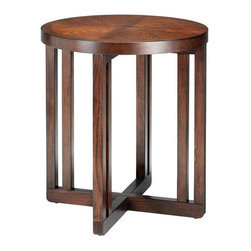 Martha Stewart Living - Martha Stewart Living™ Lombard Round End Table - The Martha Stewart Living™ Lombard End Table features clean lines, minimalist styling, and a rich finish that showcases its natural wood grain. Perfect for displaying plants, table lamps or home accents, this living room essential will seamlessly enhance your sophisticated decor. Mix and match with your favorite Martha Stewart Living™ Lombard Collection furnishings. Transitional design complements a variety of home decor styles.